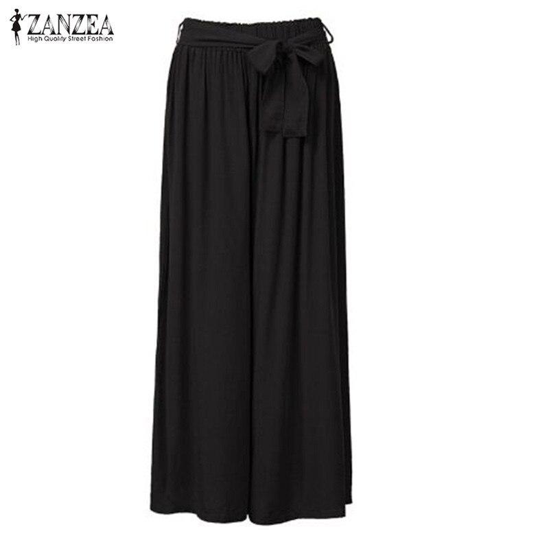2018 Women Wide Leg Pants Casual Loose Vintage Elastic Waist Trousers Casual Cotton Oversized Solid Long Pants Plus Size 2