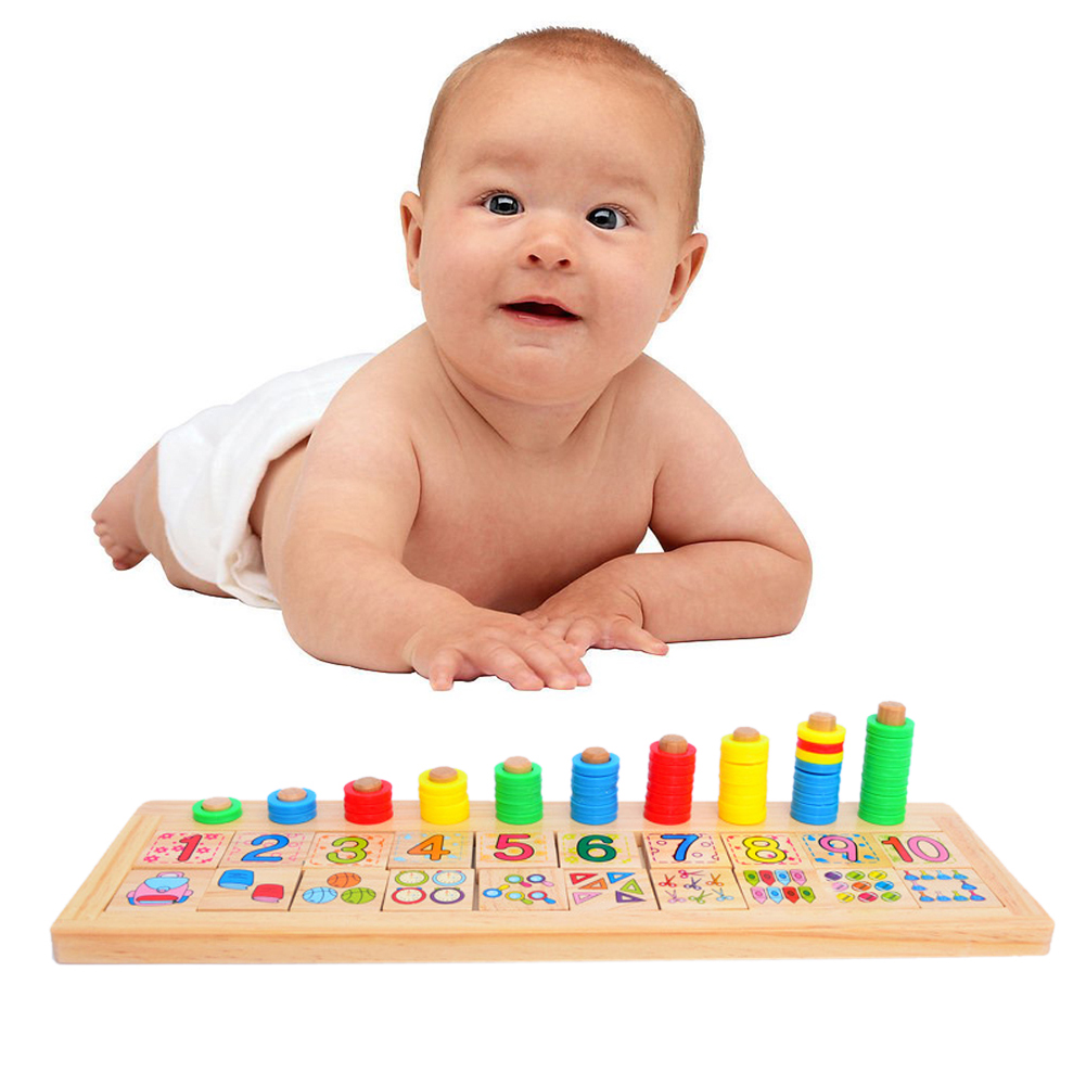 Baby Montessori Rainbow Rings Dominos Children Preschool Teaching Aids Counting and Stacking Board Wooden Arithmetic Math