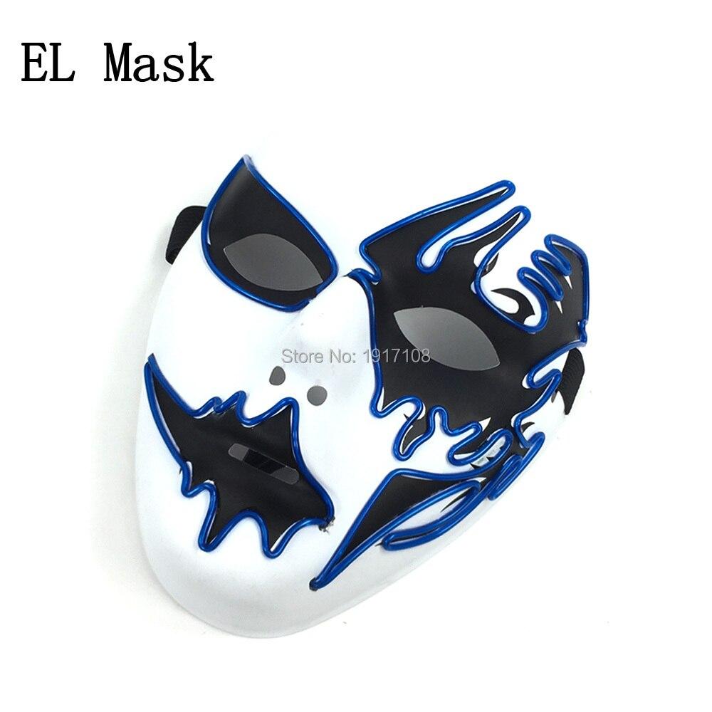 Großhandel 10 stücke halloween Maske 10 farben Wählen Cosplay Leuchten LED Maskentanz DJ Bar Nachtclub Für Parteidekoration - 2