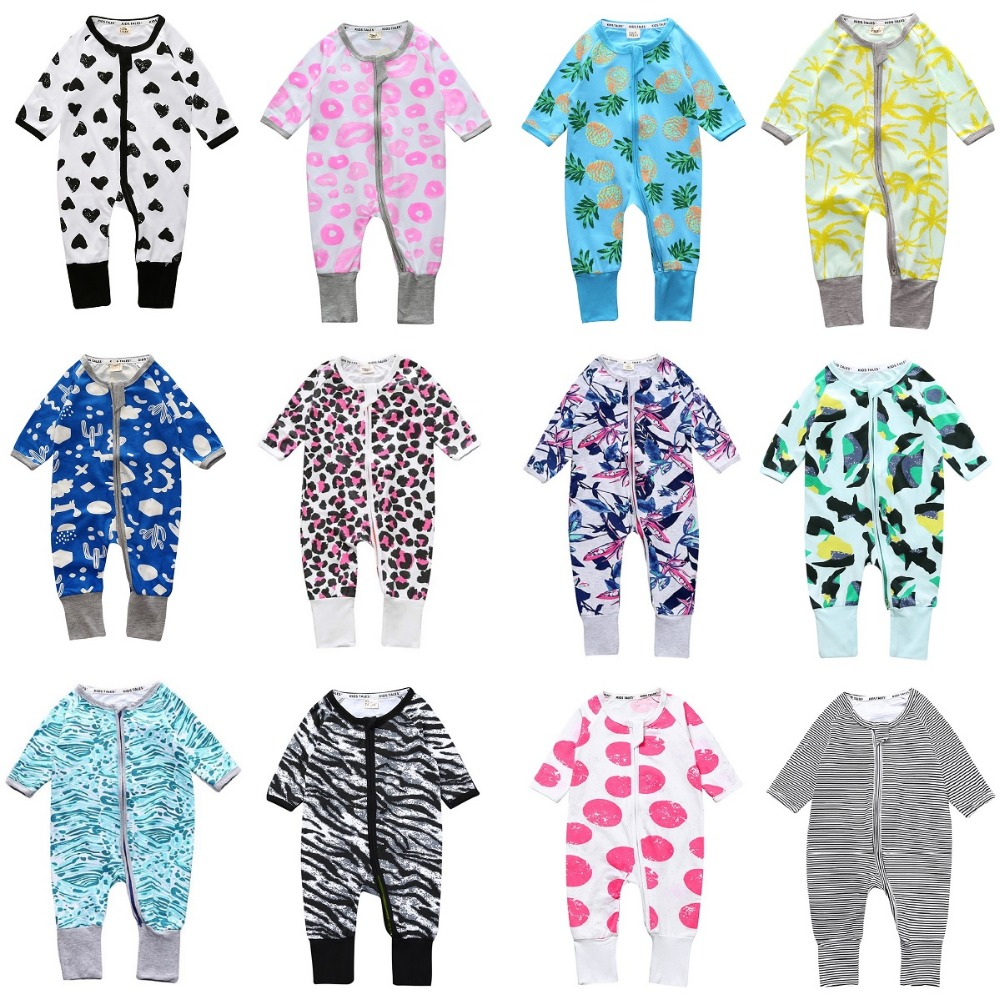 Colorful Baby Rompers Boys Clothes Newborn Jumpsuits Zipper Girls Pajamas Suit One-Piece Overall Top Quality Bebe Roupas Pjs