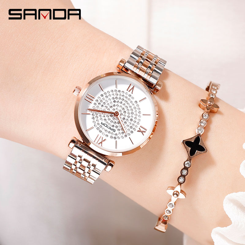 Image 3 - 2019 nuovo SANDA vigilanza delle donne di lusso cintura in acciaio wristband della vigilanza di modo specchio di vetro minerale casuale orologio al quarzo impermeabileOrologi da donna   -