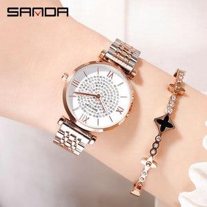Image 3 - 2019 nuovo SANDA vigilanza delle donne di lusso cintura in acciaio wristband della vigilanza di modo specchio di vetro minerale casuale orologio al quarzo impermeabile