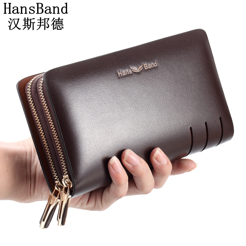 HansBand Men Genuine Leather Wallet Large capacity double zipper Purse Casual Long Business Male Clutch Wallets Men's clutch bag luxury genuine leather men wallets large capacity cowhide men clutch phone bag purse zipper vintage long wallet casual hand bags