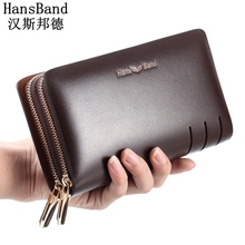 HansBand 2017 Men Wallet Genuine Leather Purse Fashion Casual Long Business Male Clutch Wallets Men's purses Men's clutch bag