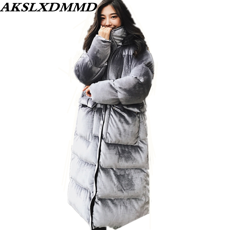2018 New Women Winter Jacket Warm Thicken Loose Large Size Long Cotton Coat Fashion Original Solid Hooded Parka Outerwear CW117