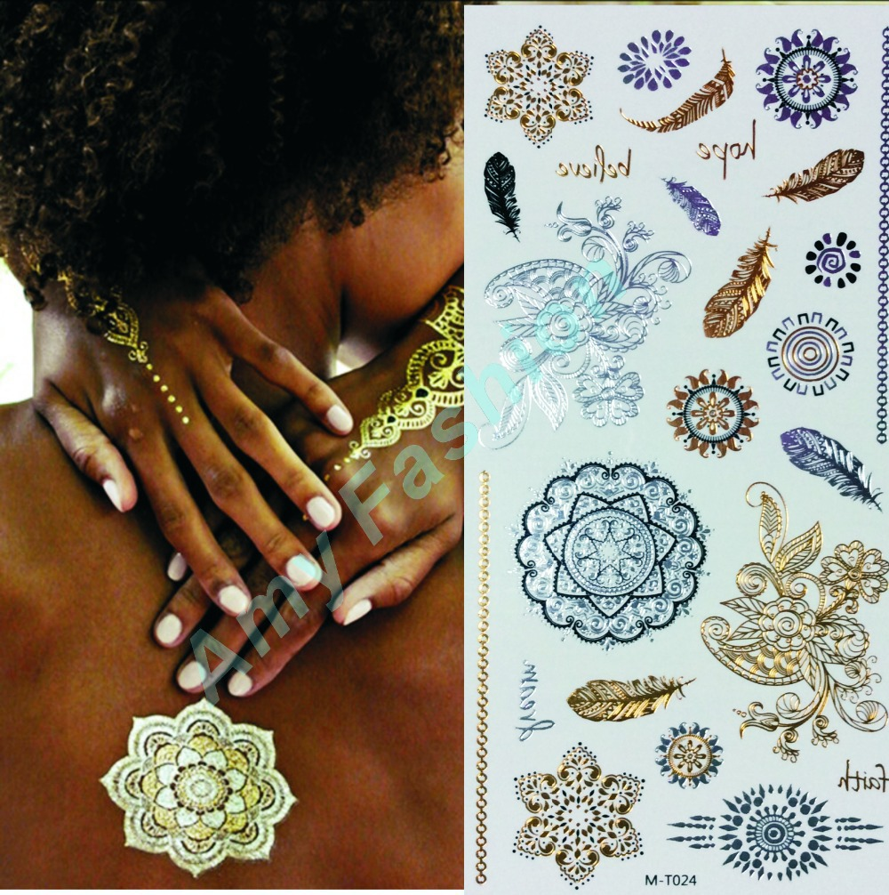 Metallic Flash Tattoo Wholesale 2015 New Blue and Gold Temporary ...