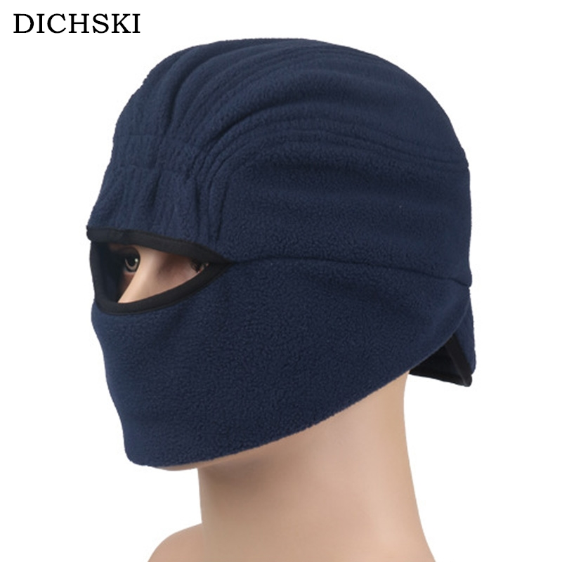 DICHSKI Outdoor Sports Hat Fleece Mens Women Warm Riding Hats Unisex Winter Black Pink Masks Protect Ear And Face Hiking Caps