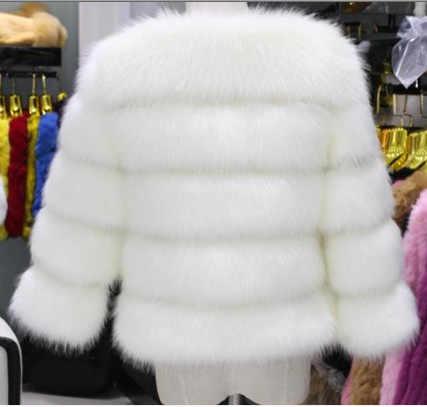 Sexy 2018 de Inverno de Espessura Mulheres Casaco de Pele De Raposa Fofo Jaqueta Formal Do Vintage Nobre Curto Pano Plus Size XXXL Mulheres De Pele jaqueta V703