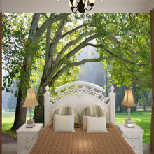 Customized non-woven large 3D murals wallpaper European woods landscape green trees living room TV Sofa bedroom wall covering