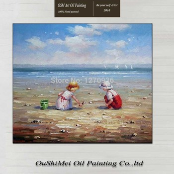 High Quality Hand Painted Portrait Oil Painting Children Playing on Beach Oil Painting on Canvas for Wall Art Decor Art Gifts