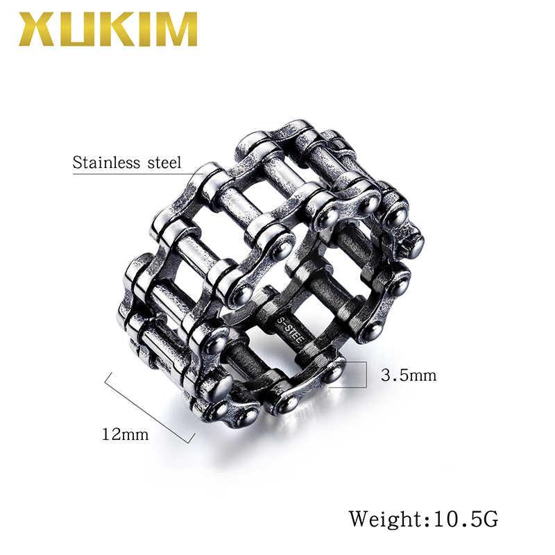 RO105 Xukim תכשיטי 2019 היפ הופ אופני קישור טבעת כסף פאנק גברים של טבעת