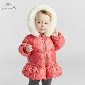 Image 2 - DBA7887 dave bella winter baby down coat girls hooded outerwear children 90% white duck down padded kids with fur pocket coat