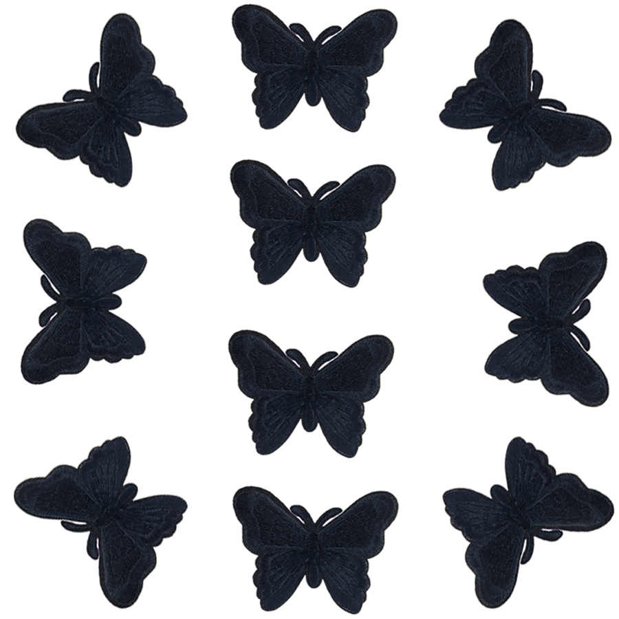 10Pcs Black Butterfly Patches for Clothing Embroidered Applique Iron on Patch Accessories Badge Stickers on Clothes Bags DIY