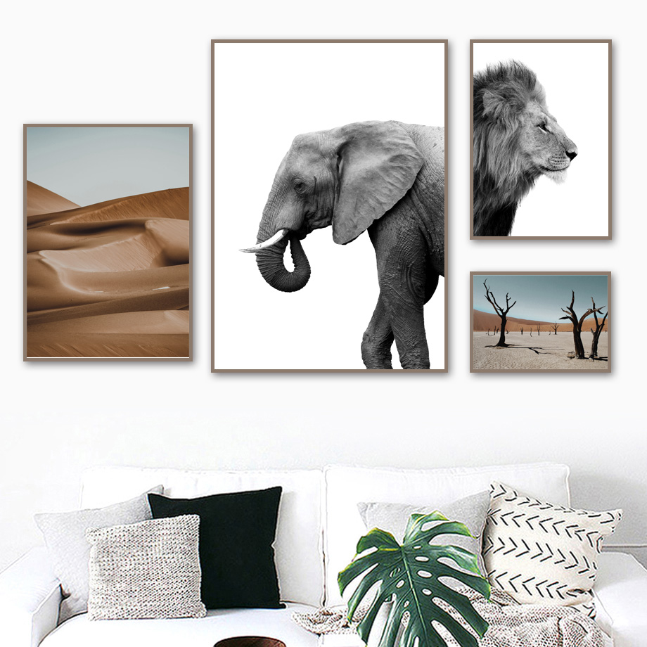 Elephant Lion Desert Tree Wall Art Canvas Painting Animal Nordic Posters And Prints Black White Canvas Pictures For Living Room african elephant