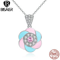 VOROCO Vintage 100 925 Sterling Silver Light Blue Pink Colorful Plum Flower Female Pendant Necklaces Fashion