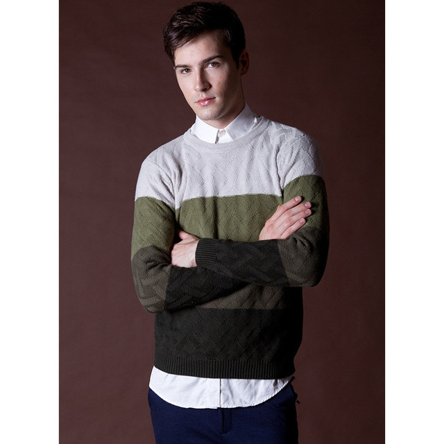 Mens Cashmere Sweaters Striped Knitting Crochet Pullover Sweater ...