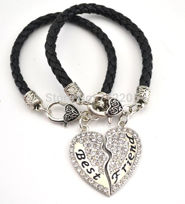 5 шт. в партии родиевое покрытие мать и дочь лучший друг прозрачная подвеска в форме сердца с кристаллами браслет на крючке(B20009