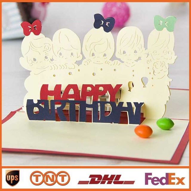 DIY Little Girls Handmade 3D Pop UP Greeting Cards Red Blue For Birthday Gift Card HQ1331