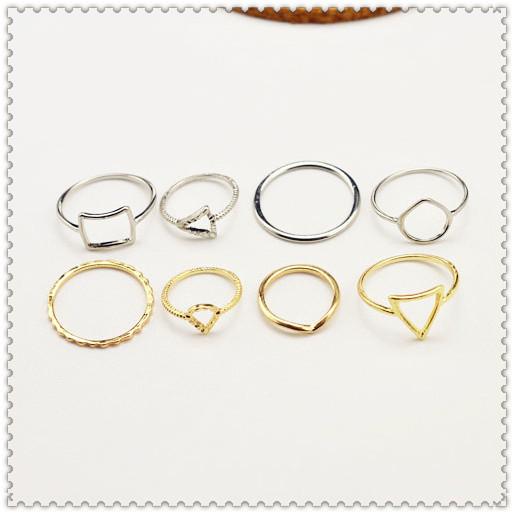 Nova jóia da forma anel de dedo definir 1 conjunto = 8 pcs mix de presente da cor para as mulheres menina R1074