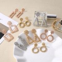 IPARAM mode luxe métal géométrie grandes boucles d'oreilles femmes Europe et amérique rétro coeur cercle goutte boucles d'oreilles bohème bijoux