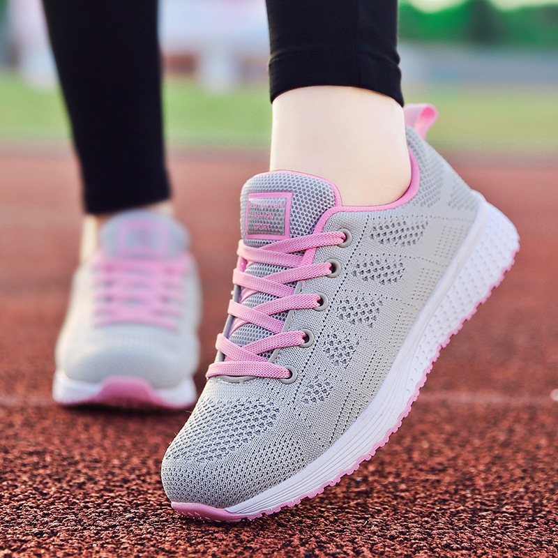 Factory Direct Women Casual Shoes Fashion Breathable Walking Mesh Flat Shoes Sneakers Women 2019 Gym Vulcanized Tenis Feminino 3