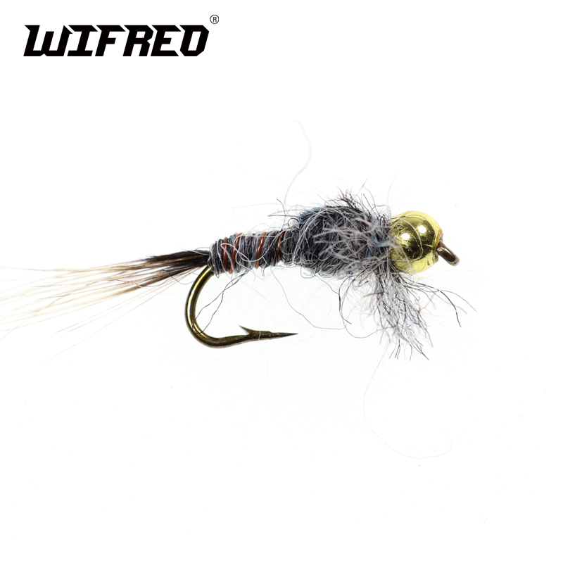 10pcs Copper Wire Tungsten Bead Head  Nymph Flies Trout Fly Fishing Lures #12