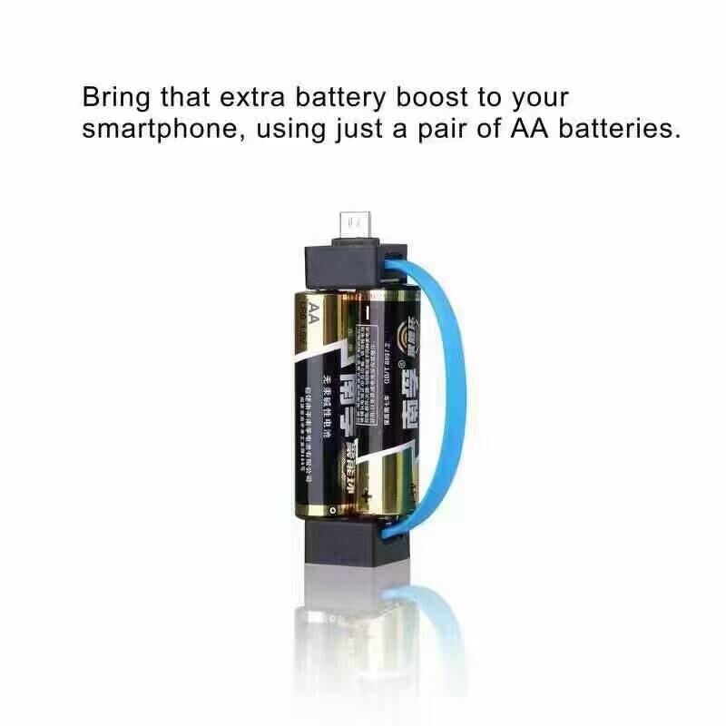 2 en 1 portátil más pequeño aa cargador de batería micro usb 8pin para iphone hu