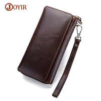 JOYIR Genuine Leather Wallet Men Clutch Male Zipper Card Holder Men Wallets Male Coin Purse Phone Men's Purse wallets vertical