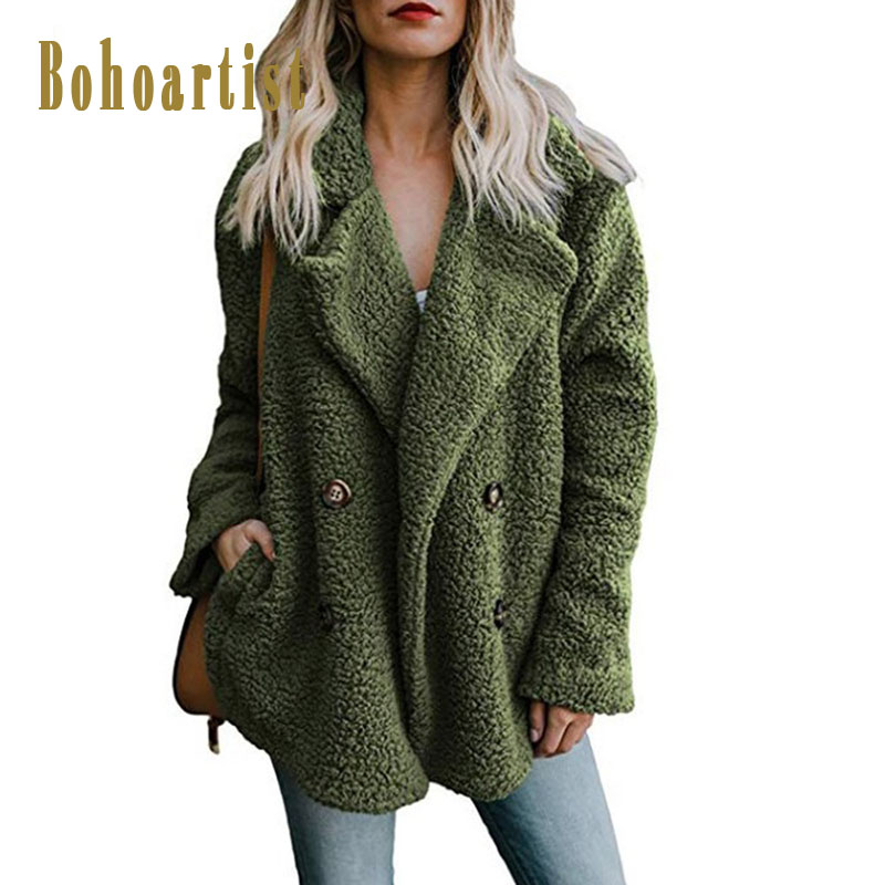 Bohoartist Winter Boho Women Overcoats Casual Plus Size Loose Lapel Plain Female Fashion Fall Warm Green High Street Coats