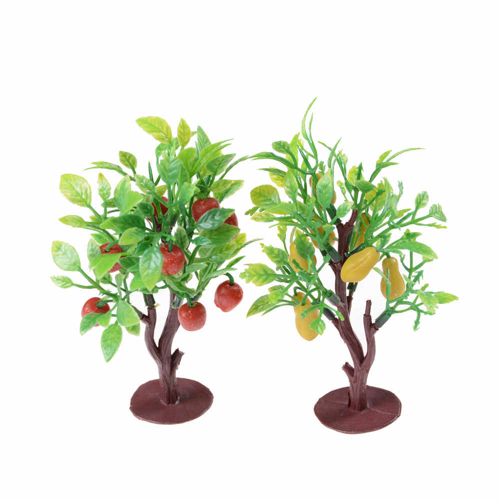 2pcs 10cm Fruit architectural modelTree Model Railway Park Layout Scenery landscaping Railway War game layouts  Dollhouse Decor