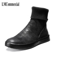 Натуральная кожа осень зима высокие носки ботильоны универсальные воловья кожа военные ботинки мужские ботинки челси универсальные волов
