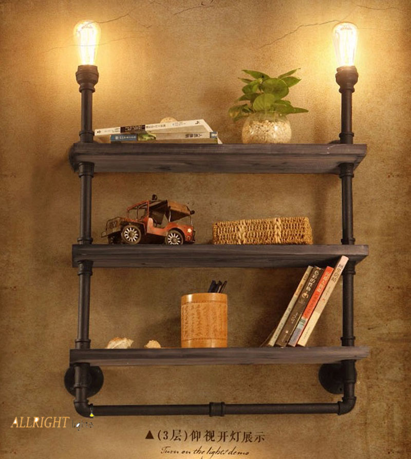 Industrial <font><b>vintage</b></font> iron with <font><b>wood</b></font> board <font><b>wall</b></font> mounted <font><b>lamp</b></font> 1/2/3 floor water pipe <font><b>lamp</b></font> book shelf for bedroom living room image