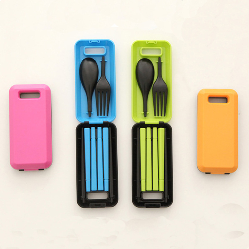 Three Piece Portable Tableware Sets With Folding Combination Spoon Fork Chopsticks Bento Lunch Box Tableware Kitchen