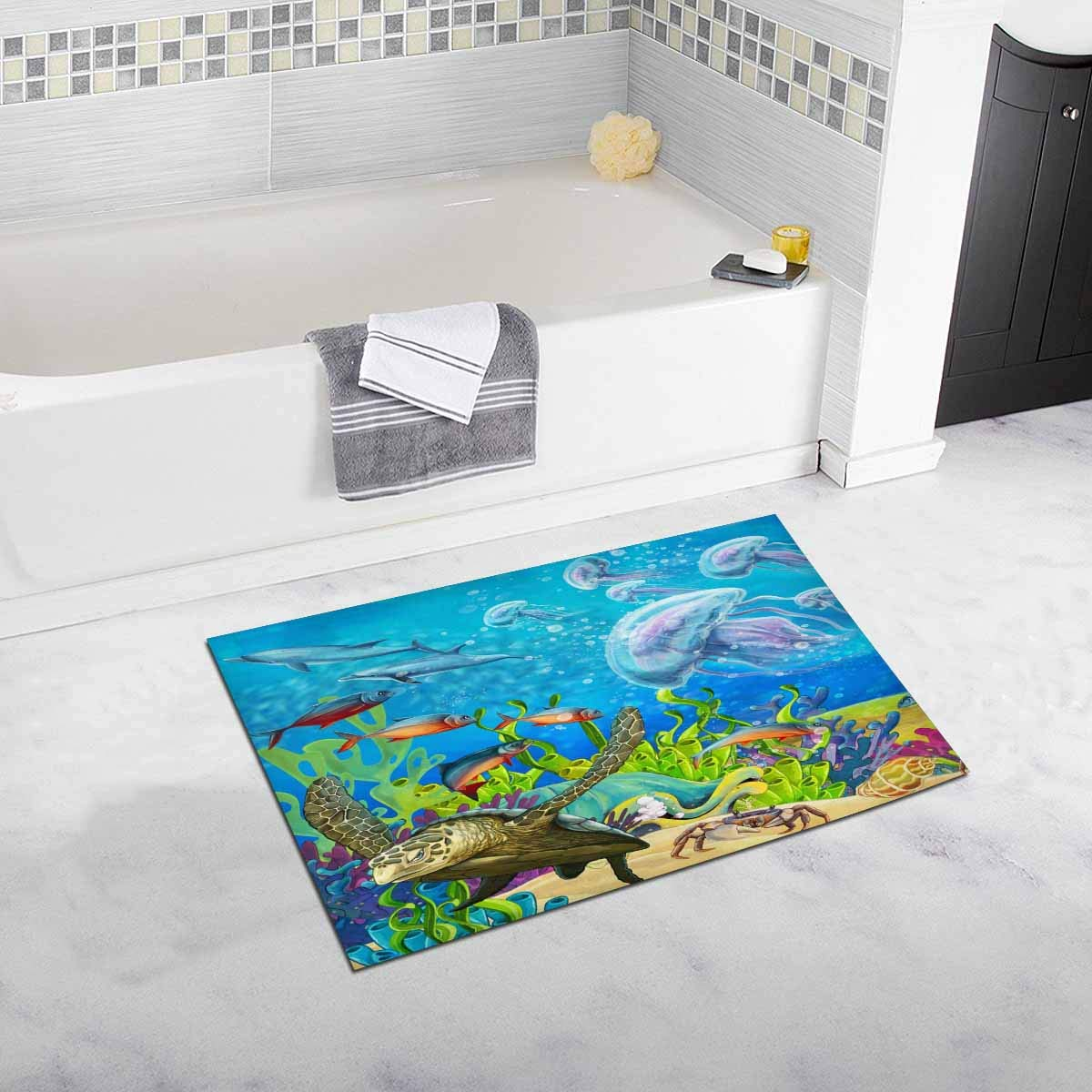 Frog Pond Rug: Dolphins Jellyfish Sea Turtle Coral Reef Bath Rug Non Slip