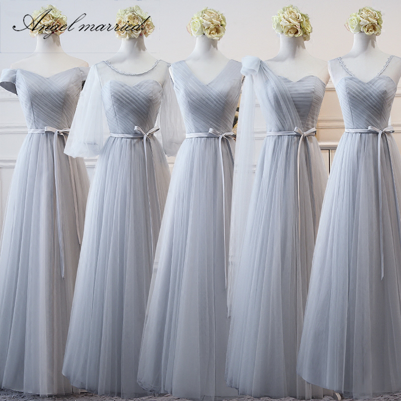 Angel married simple   bridesmaid     dresses   5 style tulle pleat junior wedding guest gown wedding party   dress   vestido de festa