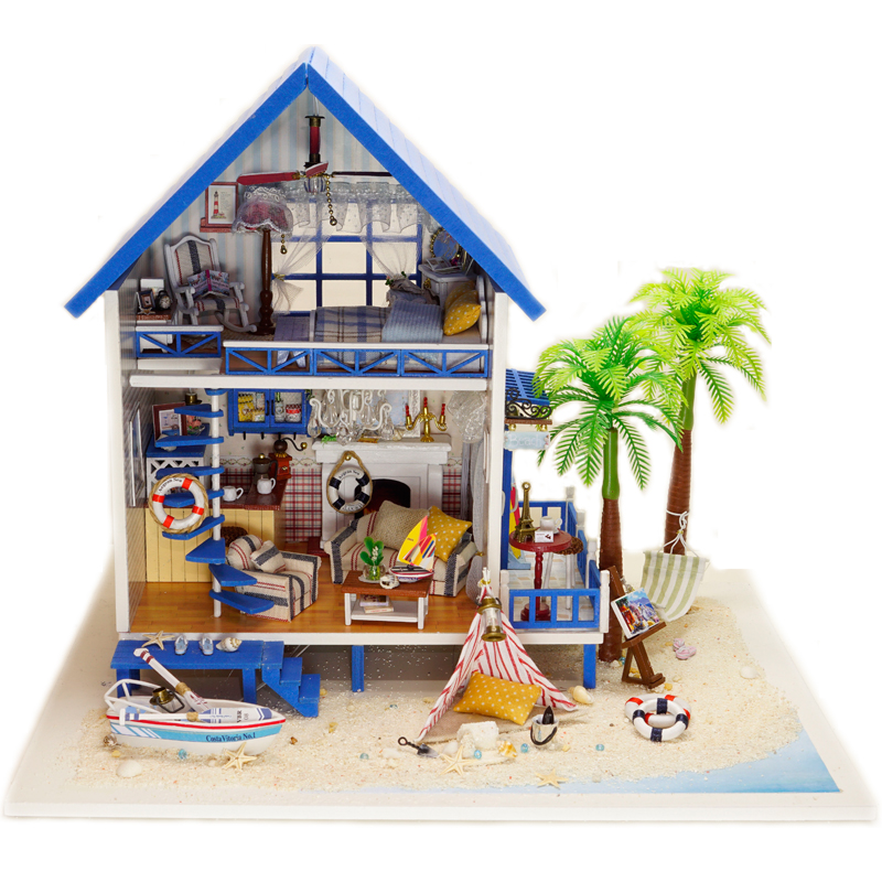 Doll House DIY Miniature Model With 3D Furnitures Wooden Dollhouse Handmade Toys Gift For Children Aegean Sea A029 #E wooden handmade dollhouse miniature diy kit caravan