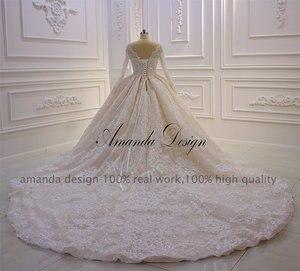 Image 4 - カスタムメイドブライダルドレス高品質長袖レースクリスタルウェディングドレス高級