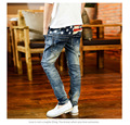 Korean Style Five Star Embroidery Boys Cowboy Long Pants Brand Good Quality Cotton kids jeans Soft Denim blue color