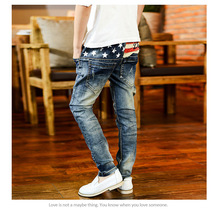 Korean Style Five Star Embroidery Boys Cowboy Long Pants Brand Good Quality Cotton youngsters denims Soft Denim blue coloration
