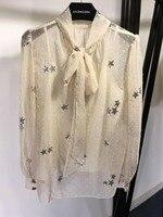 2019 Новогодняя женская рубашка с длинным рукавом и бантом 0318