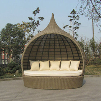 Tear Drop Shape Outdoor Rattan Daybed For Swimming Pool / Poolside to sea port by sea