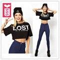 "SSS Rock Roll 2016 Womens short sleeve print ""LOST"" T-shirts ladys midriff shirts crop tops short black tees"