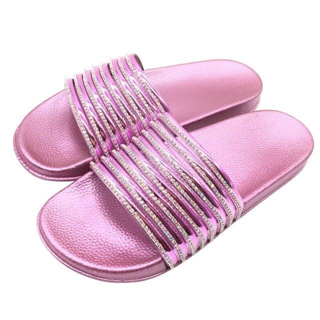 426face6a5116 Women Bling Slippers Flip Flops Sandals Glitter Beach Slides Sandals House  Slippers Bathroom Shower Slippers