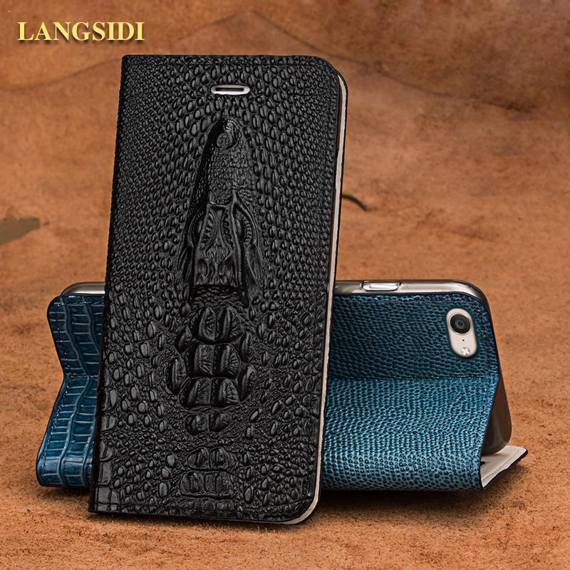 LANGSIDI brand phone case crocodile head clamshell leather phone case for OPPO R9s phone shell all handmade custom processing