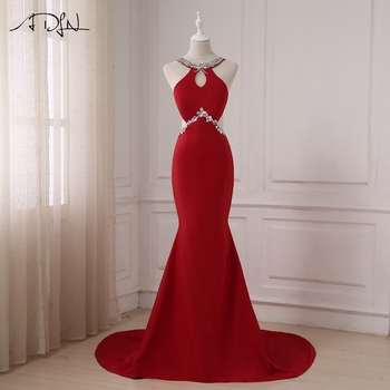 ADLN Sexy Evening Dresses Halter Sleeveless Crystals Beaded Mermaid Evening Gowns Party Dress Sweep Train Zipper Back