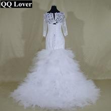 QQ Lover 2019 Sexy African Half Sleeves Mermaid Wedding Dresses Beaded Bridal Gown Custom made
