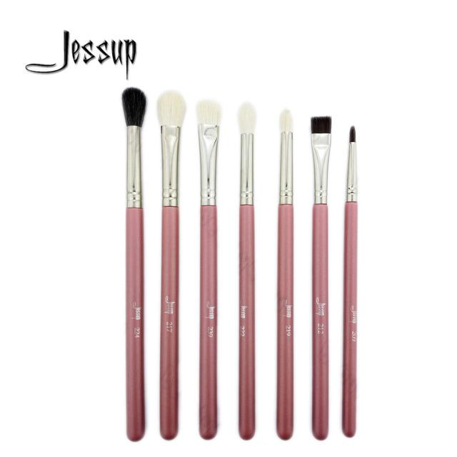 Jessup pro maquiagem cosméticos escovas de olho definir sombra escova sobrancelha ferramentas rosa/prata 7 pcsset