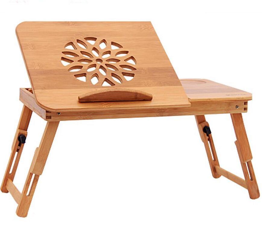 Bureaux d'ordinateur table de lit meubles de maison bambou bureau d'ordinateur portable avec ventilateur de refroidissement M portable pliable nouveau pas cher entier saleSY28D5