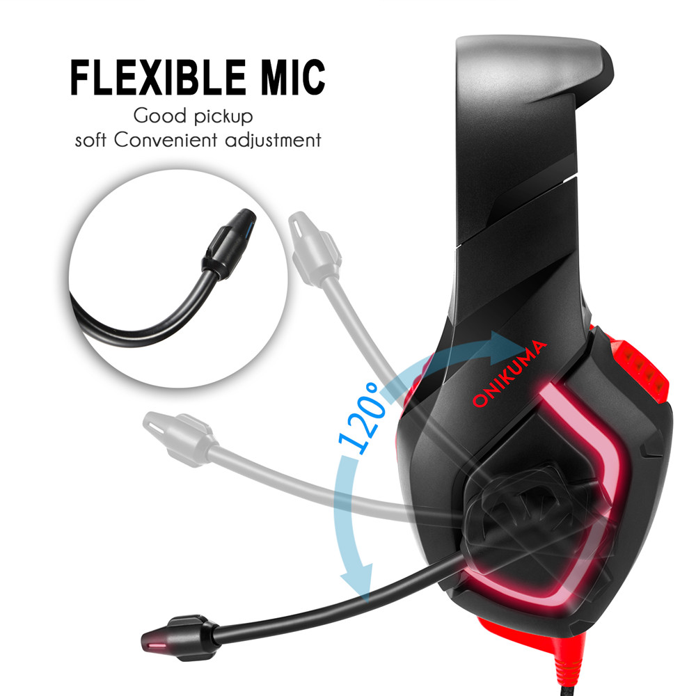 ONIKUMA K1 Wired Game Headset Casque Gamer Headphones with Mic Deep Bass Stereo USB LED Earphone for PS4 Xbox one PC Laptop