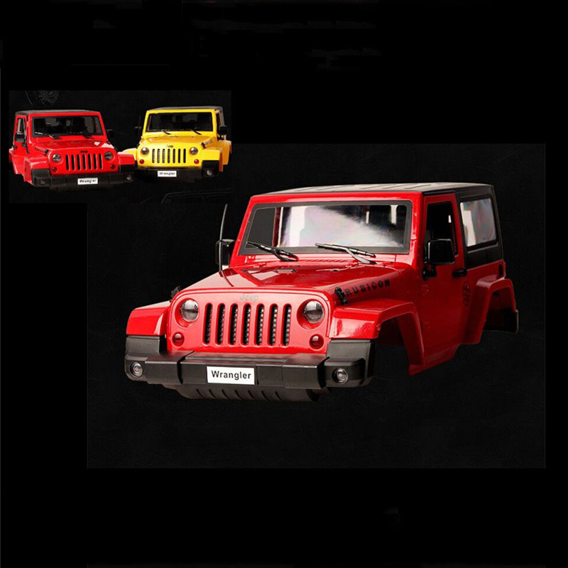 kids toys Hard Plastic yellow Red Modified 1:10 rc Car body Shell 3-Door Climbing car For 1:10 JK Wrangler  Rubicon SCX10 D90